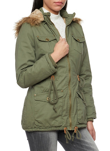 Drawstring Coat with Fur Trimmed Hood,OLIVE,large