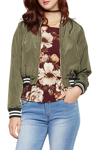 Bomber Jacket with Striped Trim,OLIVE,large