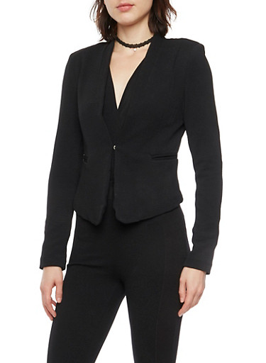 Solid Knit Blazer,BLACK,large