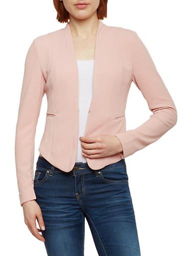 Solid Knit Blazer,PINK DUSTY,large