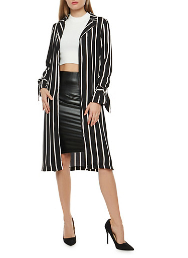 Striped Tie Sleeve Duster,BLACK MAUVE,large