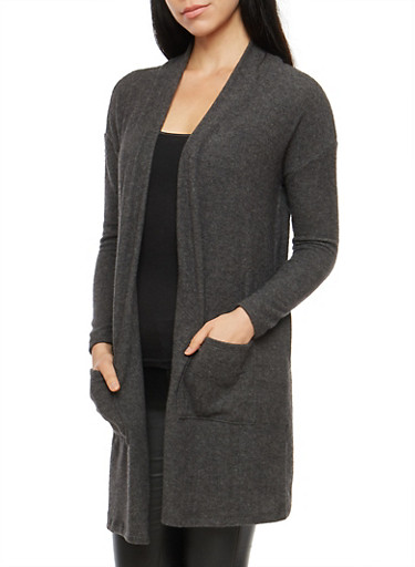 Soft Knit Open Front Cardigan,CHARCOAL,large