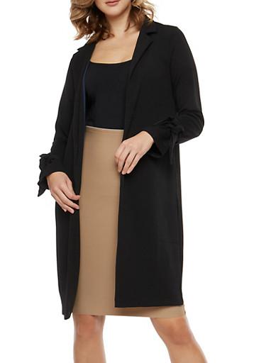 Side Slit Tie Sleeve Duster,BLACK,large