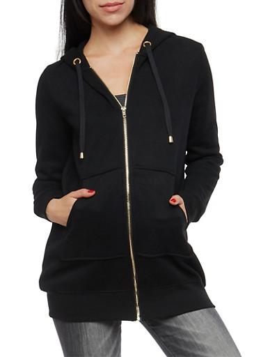 Fleece Lined Zip Up Hooded Sweatshirt,BLACK,large