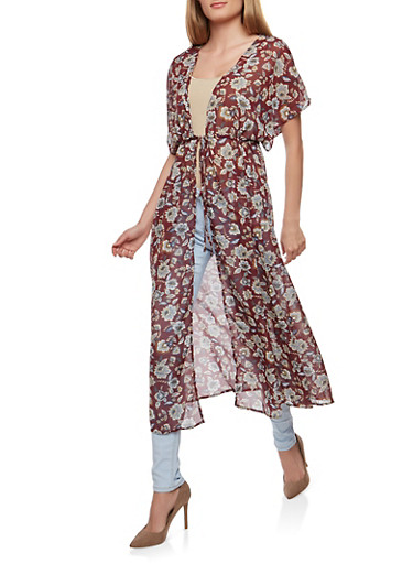 Floral Tie Front Kimono,BURGUNDY,large