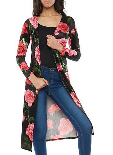 Velvet Rose Print Duster,BLACK,large