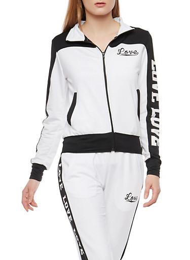 Love Graphic Color Block Zip Jacket,WHITE BLACK,large