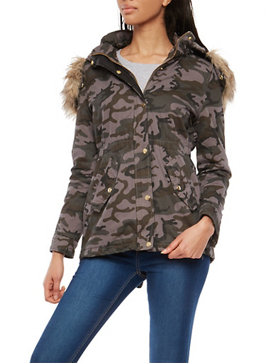 Camo Sherpa Lined Hooded Anorak Jacket,GRAY,large