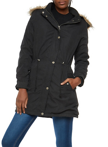 Faux Fur Lined Anorak Jacket,BLACK,large