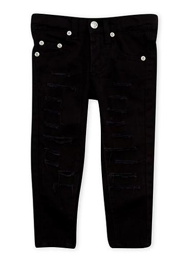 Toddler Girls Slashed Skinny Jeans,BLACK,large