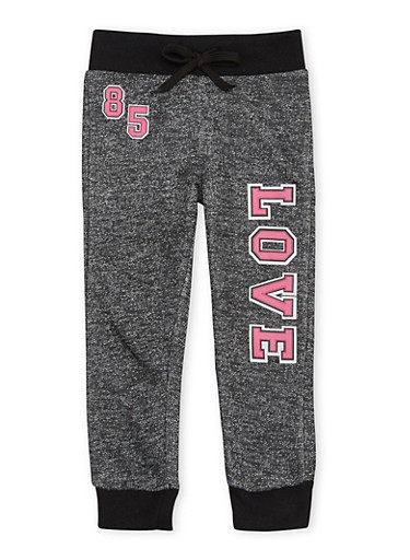 Toddler Girls Marled Knit Joggers with Love 85 Graphic,FUCHSIA,large