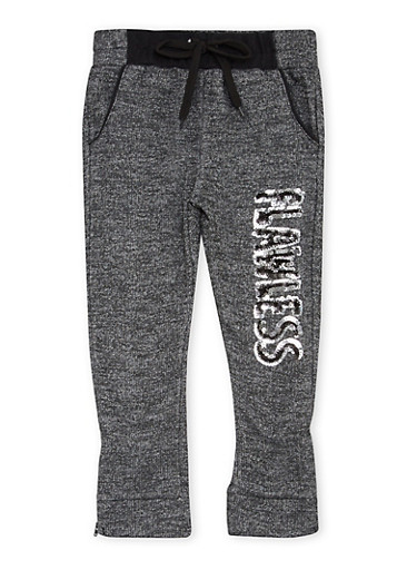 Toddler Girls Joggers with Flawless Graphic,BLACK,large