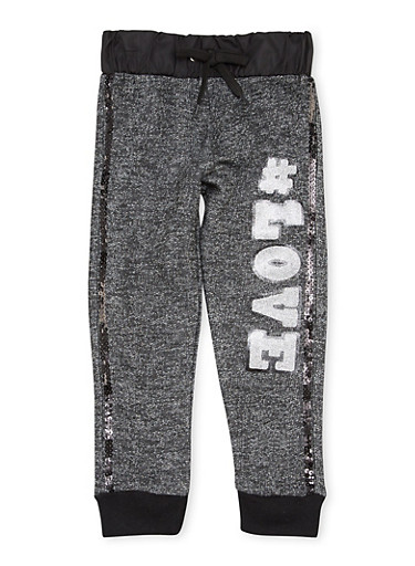 Toddler Girls Joggers with Glitter Love Graphic,BLACK,large