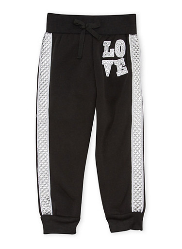 Toddler Girls Joggers with Metallic Love Patch,BLACK,large