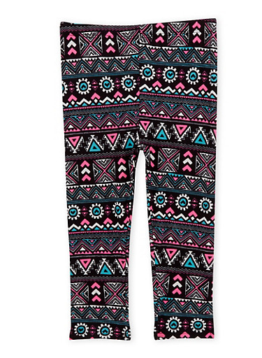 Toddler Girls Leggings in Aztec Print,BLACK,large