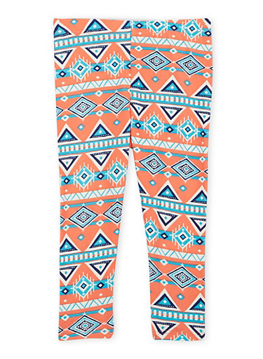 Toddler Girls Brushed Leggings with Aztec Print,CORAL,large