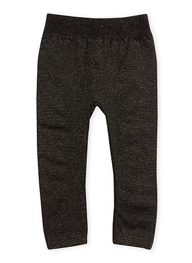 Toddler Girls Leggings in Sparkling Knit,BLACK,large