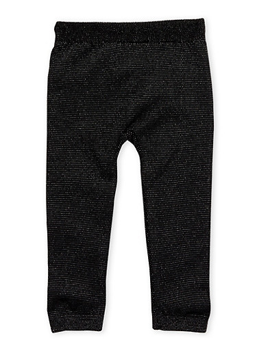 Toddler Girls Sparkly Leggings,BLACK,large