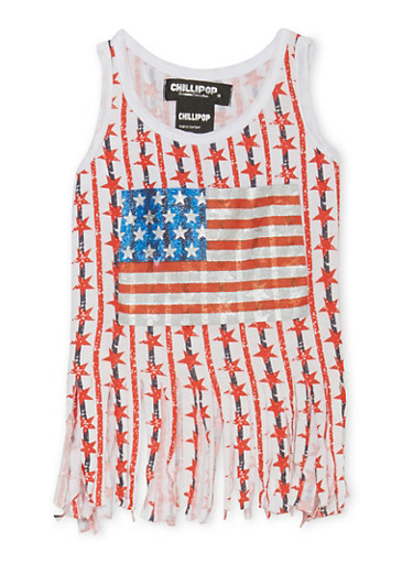 Toddler Girls Graphic Fringe Tank Top with American Flag Print,WHITE,large