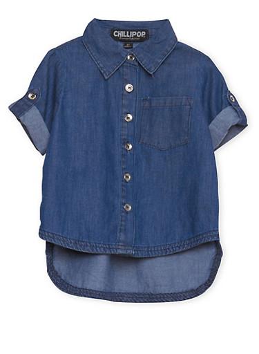 Toddler Girls Denim Shirt with High Low Hem,DARK WASH,large