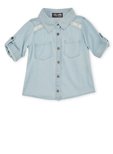 Toddler Girls Denim Shirt with Crochet Panels,LIGHT WASH,large