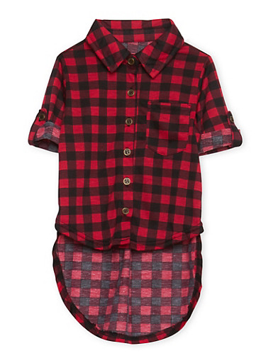 Toddler Girls Plaid Shirt with High Low Hem,RED,large