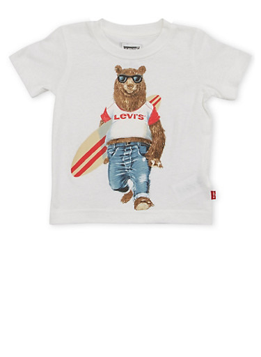 Toddler Boys Levis T Shirt with Surfer Bear Graphic,WHITE,large