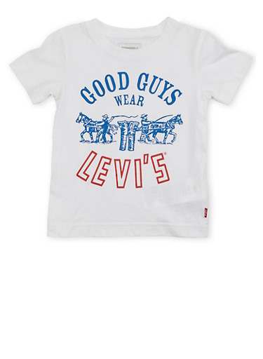 Toddler Boys Levis Crew Neck T Shirt with Good Guys Print,WHITE,large