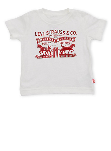 Toddler Boys Levis Crew Neck T Shirt with Vintage Print,WHITE,large