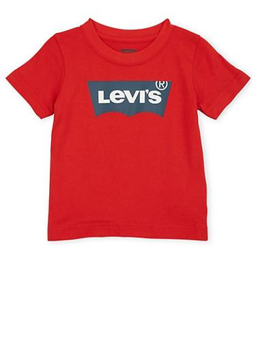 Toddler Boys Levis Logo T Shirt,RED,large