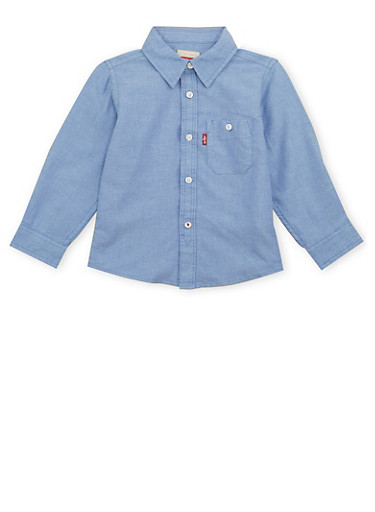 Toddler Boys Levis Button Up Shirt With Pocket,BLUE,large
