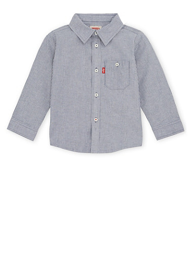 Toddler Boys Levis Button Up Shirt in Pinstripes,NAVY,large