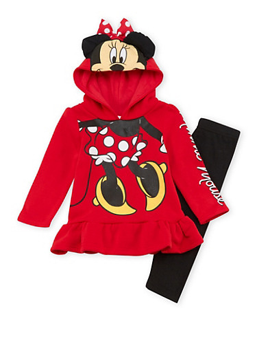 Toddler Girls Minnie Mouse Peplum Hoodie with Leggings Set,RED,large