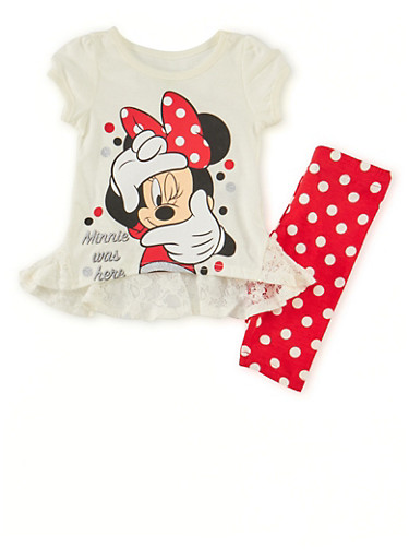 Toddler Girls Minnie Mouse Graphic Top with Polka Dot Leggings Set,RED,large