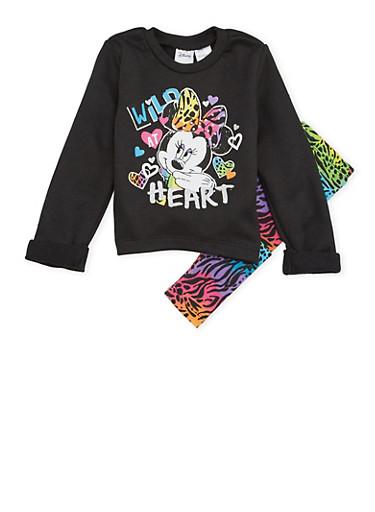 Toddler Girls Minnie Mouse Sweatshirt and Leggings Set,BLACK,large