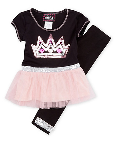 Toddler Girls Crown Tutu Dress and Leggings Set,BLACK,large