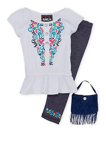 Toddler Girls Printed Peplum Top with Knit Denim Leggings and Purse Set,WHITE,large
