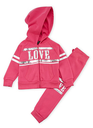 Toddler Girls Hoodie and Joggers Set with Love Graphic,FUCHSIA,large