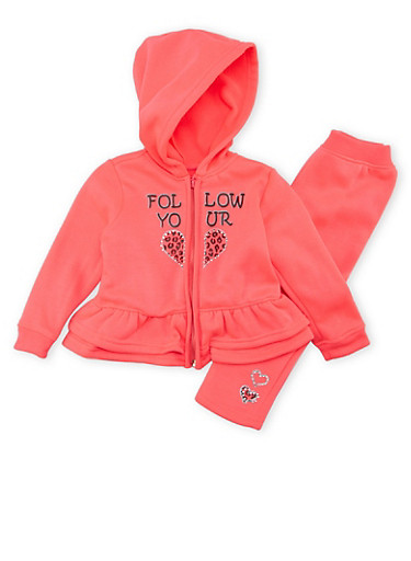 Toddler Girls Peplum Hoodie and Sweatpants Set,NEON PINK,large