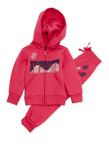Toddler Girls Zip Hoodie and Joggers Set with Awesome Graphic,FUCHSIA,large
