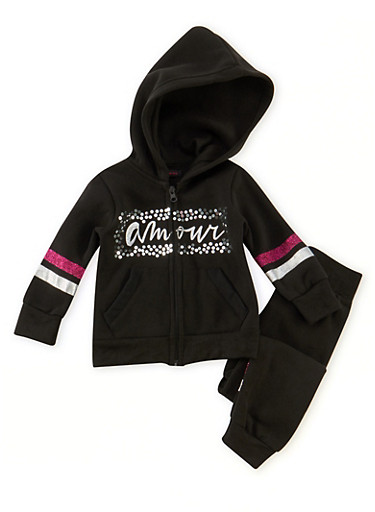 Toddler Girls Amour Graphic Hoodie and Joggers Set,BLACK,large