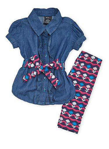 Toddler Girls Chambray Shirt with Printed Leggings Set,NAVY,large