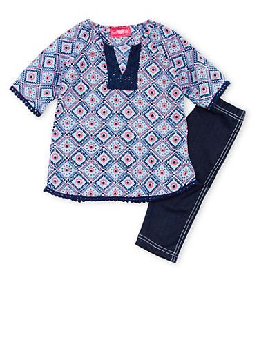 Toddler Girls Printed Tunic Top with Knit Denim Leggings Set,NAVY,large