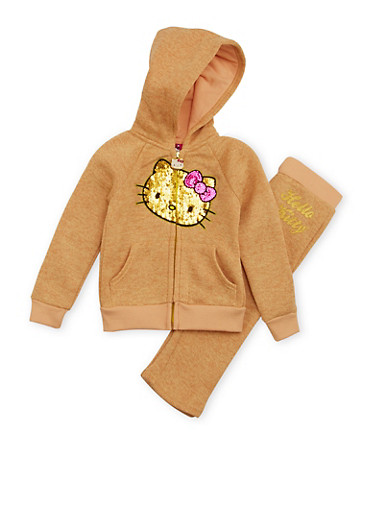 Toddler Girls Hello Kitty Hoodie and Sweatpants Set,IVORY,large