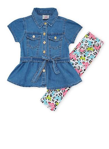 Toddler Girls Denim Tunic Top and Leggings Set,LIGHT WASH,large