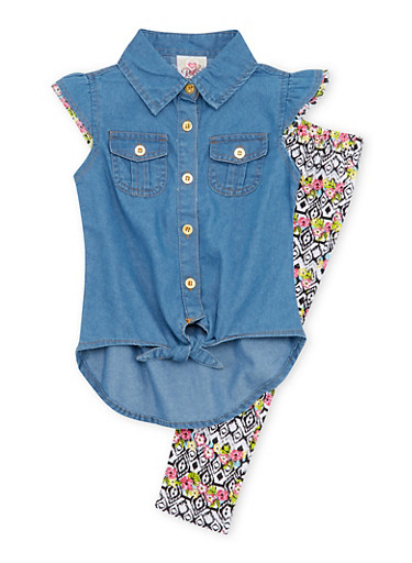Toddler Girls Denim Button Front Top with Printed Leggings Set,LIGHT WASH,large
