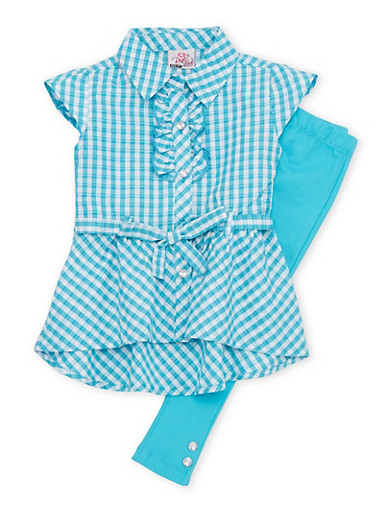 Toddler Girls Belted Plaid Top with Solid Leggings Set,TURQUOISE,large