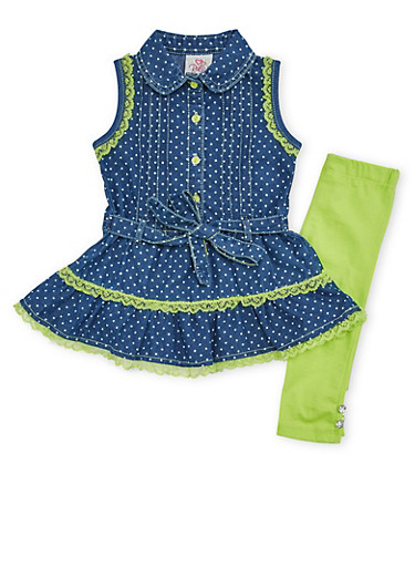Toddler Girls Sleeveless Chambray Top with Leggings Set,LIME,large