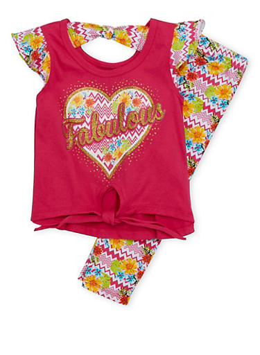 Toddler Girls Graphic Top with Printed Leggings Set,FUCHSIA,large