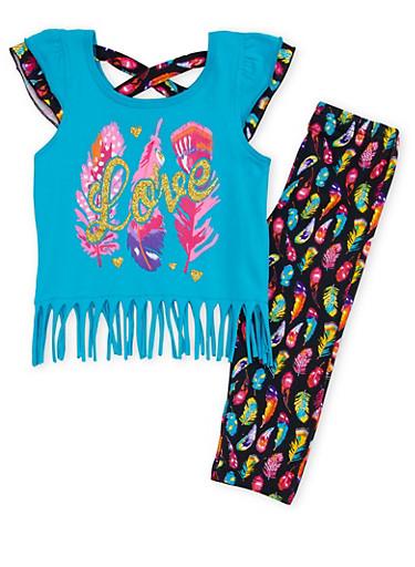 Toddler Girls Fringed Top with Printed Leggings Set,TURQUOISE,large